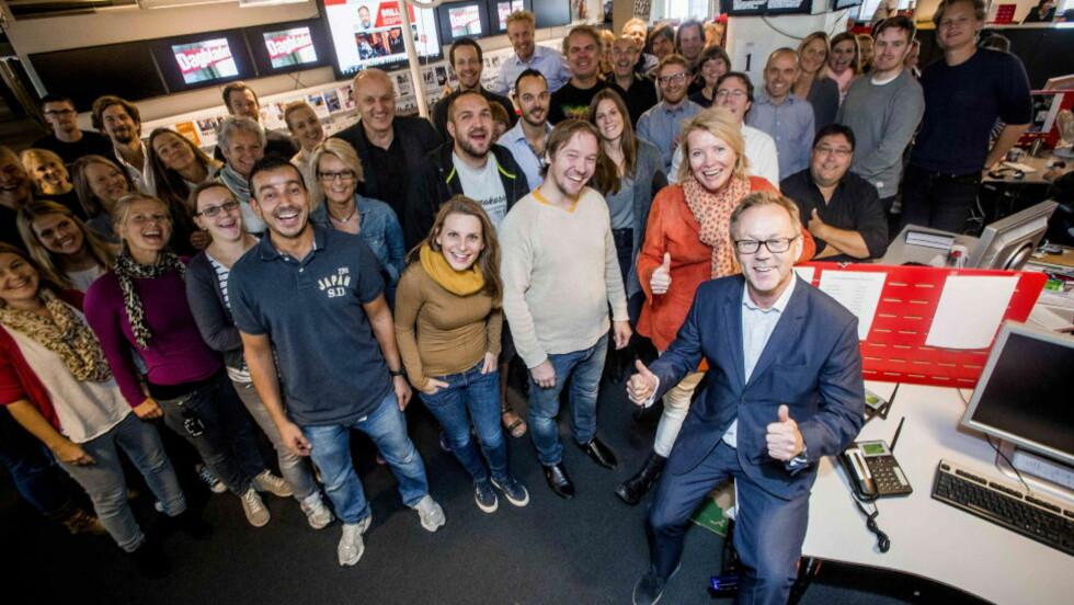 DAGBLADET: Jubeldager i Dagbladets redaksjon. Her med sjefsredaktør John Arne Markussen i forgrunnen. Foto:Thomas Rasmus Skaug / Dagbladet