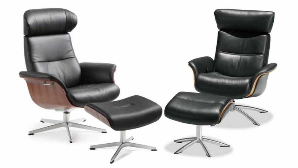 SETT PÅ MAKAN: Conform Collection sin stol TimeOut til venstre, Møbelringens Macan-stol til høyre. Ikke så «makan» at den bryter loven, mener Næringslivets Konkurranseutvalg. Fotomontasje: MØBELRINGEN / CONFORM COLLECTION / OLE PETTER BAUGERØD STOKKE