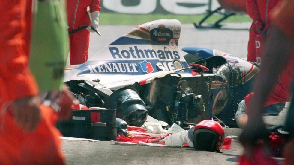 TRAGISK SLUTT: Ayrton Sennas død gikk hardt inn på motorsporten, Brasil og verden ellers. Formel 1-stjernen mistet livet 1. mai 1994 på Imola-banen i San Mariono. Foto: SCANPIX/AFP