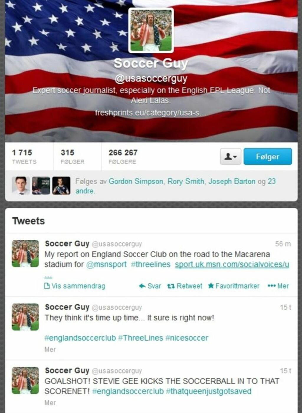 «STEVIE GEE KICKS THE SOCCERBALL IN TO THAT SCORENET»: @usasoccerguy er blitt en hit på Twitter. Bloggen til samme mann er ikke mye dårligere. Skjermdump: Twitter