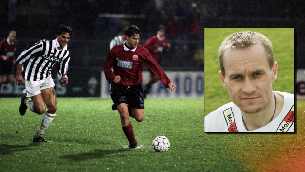20 ÅR ETTER: Kongsvinger spilte 1-1 mot Juventus 20. oktober 1993. 20 år senere spiller de nedrykkskamp mot Vard Haugesund i 1. divisjon. Geir Frigård (innfelt) scoret målet mot stjernelaget. På hovedbildet er Jørn Karlsrud i 1993. Foto: NTB Scanpix.