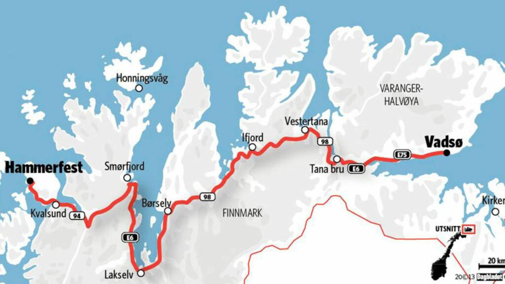 MIL ETTER MIL: Mellom Vadsø fengsel og rettssalen i Hammerfest er det 42,2 mil. Dette gjør transporten av arrestanter og fanger dyr og tidkrevende for politiet i Finnmark. Grafikk: Kjell Erik Berg/Dagbladet.