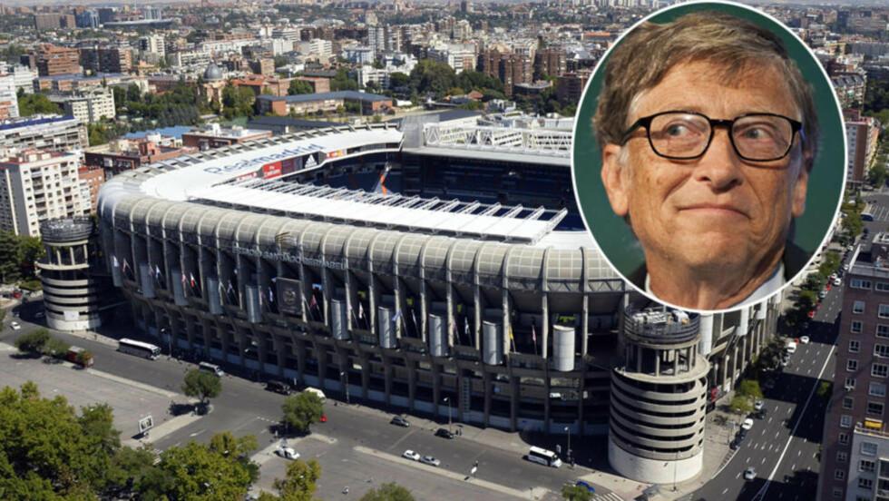 <strong>NAVNEBYTTE PÅ GANG?:</strong> Ifølge spanske El Confidencial, skal Bill gates være i forhandlinger med Real Madrid når det kommer til finansiering av den planlagte oppusingen av Santiago Bernabeu. Foto: NTB / Scanpix