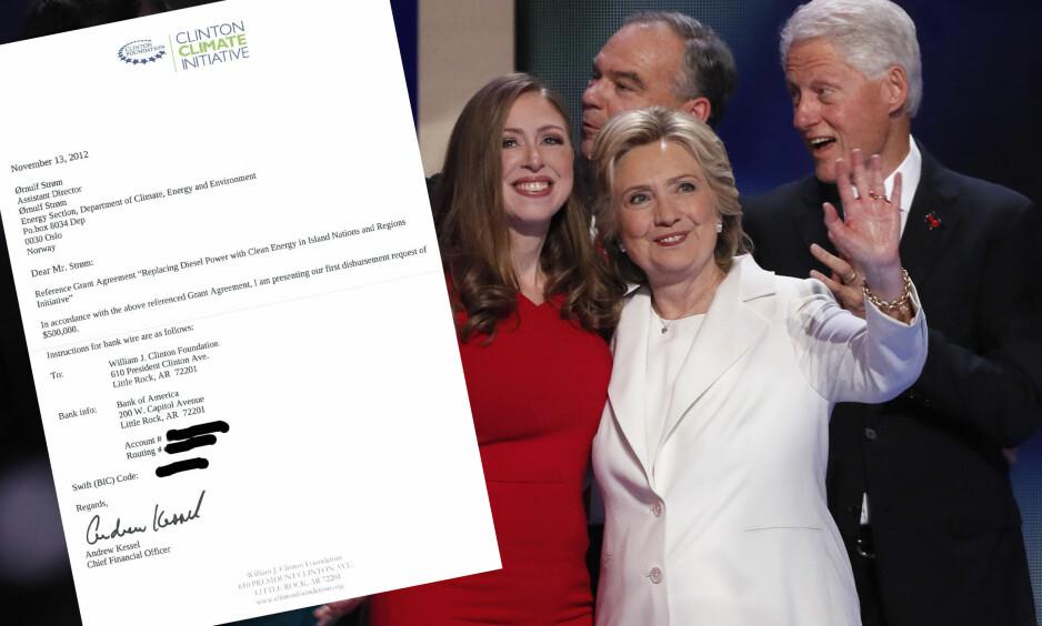 REGNING: Dette er en regning fra Clinton-stiftelsen på 500 000 dollar sendt fra Clinton-stiftelsen til Norad. Foto: Mike Segar/Reuters