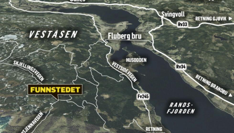 FUNNSTEDET: Omlag en halvtimes kjøring fra Gjøvik, ble den drepte mannen funnet. Grafikk: Kjell Erik Berg / Dagbladet