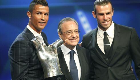 HANDLEGLAD: Real Madrids klubbpresident Florentino Perez er glad i å hente store stjerner til klubben, som Cristiano Ronaldo og Gareth Bale. Nå kan det bli lenge til neste storsignering. Foto: NTB Scanpix