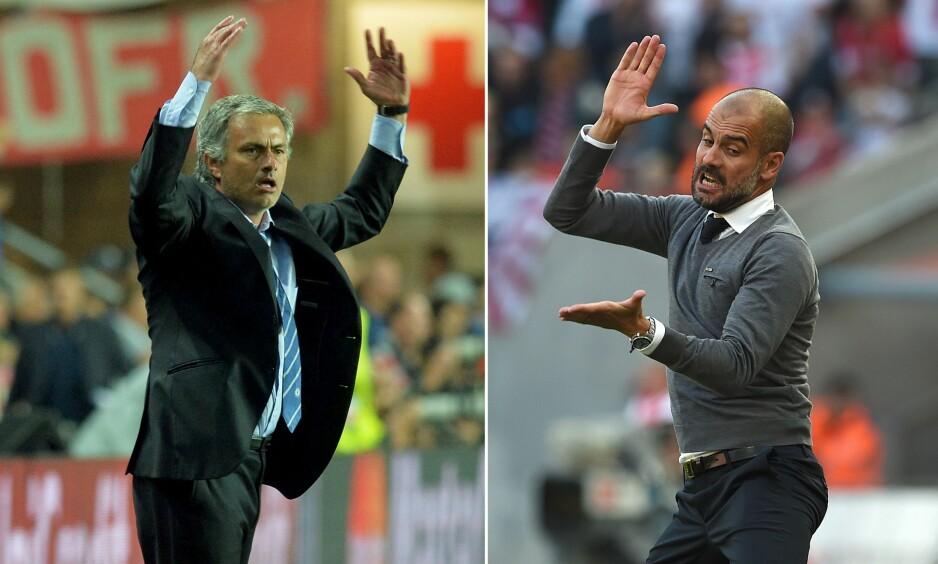 TRØBLER: United-trener José Mourinho (til venstre) og City-trener Pep Guardiola (høyre) har slitt med å gjøre sine nye hjemmebaner til fryktede arenaer. Hverken United eller City har vunnet hjemme i Premier League siden september.  Foto:AFP Photo