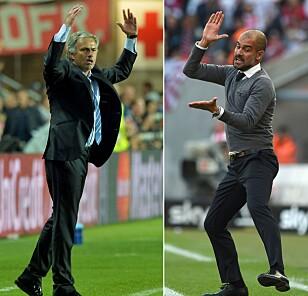 NY DUELL: José Mourinho (til venstre) og Pep Guardiola hadde mange feider som mangere i Real Madrid og Barceloa. Nå representerer de hvert sitt lag i lørdagens Manchester-derby. Foto: NTB Scanpix