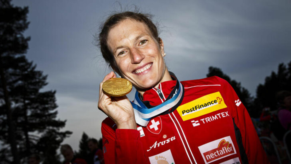VANT:  Sveitsiske Simone Niggli tok sitt 22. VM-gull. Foto: Roni Rekomaa/Scanpix/Reuters.