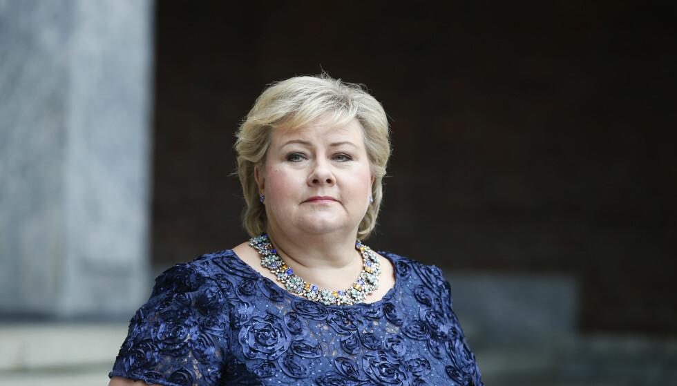 FJERNET BILDE: Facebook har i dag fjernet et bilde statsminister Erna Solberg la ut på sin Facebookside. Foto: Terje Pedersen / NTB scanpix