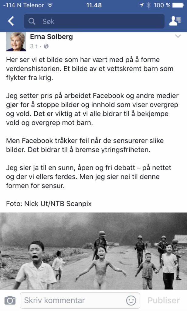 FJERNET BILDE: Dette innlegget la statsminister Erna Solberg ut tidligere i dag. Nå har Facebook fjernet innlegget. Foto: Skjermdump Facebook.