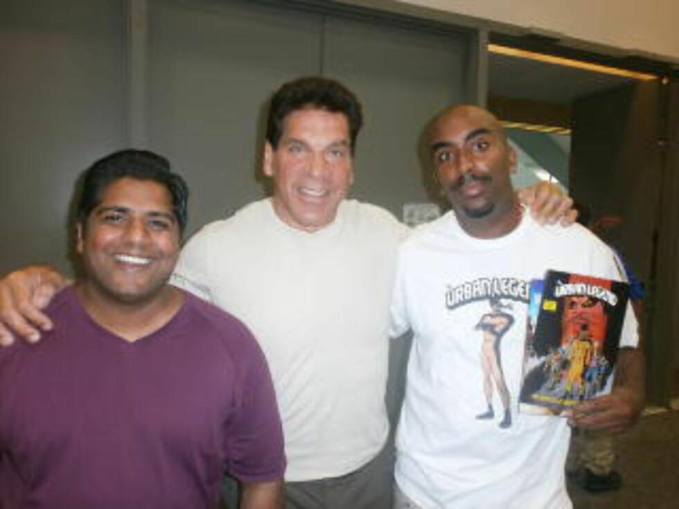 HULKEN: Skuespiller Lou Ferringo spilte Hulken i en tv-serie fra 70 og 80- tallet. Yohannes traff han under Comic-Con i fjor sommer.