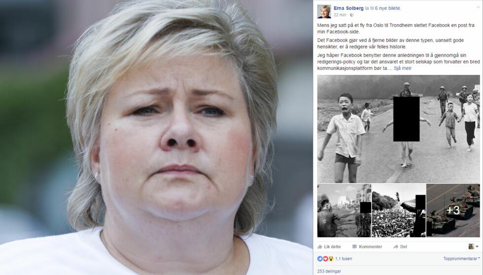 LA UT NYTT INNLEGG: Statsminister Erna Solberg trosset Facebook sin sensur, og la ut et nytt innlegg på sin Facebookside. Denne gangen hadde hun sensurert bildet selv. Foto: NTB/Scanpix