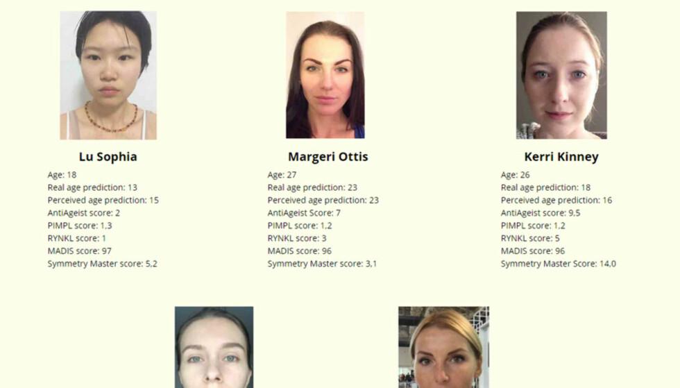 VINNERE: Disse fem kvinnene var ifølge roboten de peneste i aldersgruppen 18-29 år. Robotene har dømt etter antall rynker i ansiktet og symmetri, blant annet. Foto: Youth Laboratories