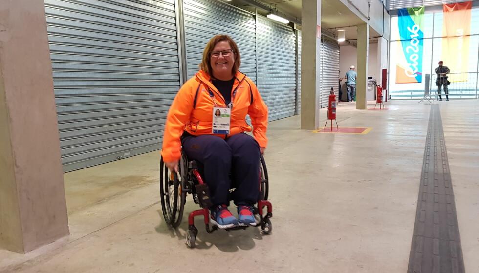 FORNØYD: Anne-Cathrine Krüger bommet på målet i Paralympics, men hun er likevel glad. Foto: Thomas Haarstad