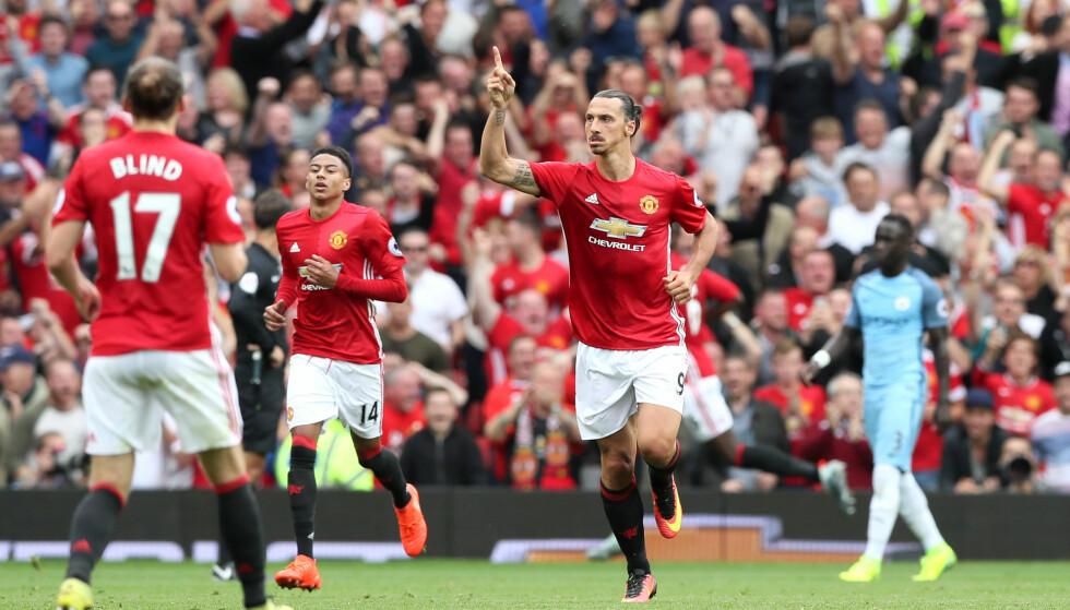 1-2: Zlatan Ibrahimovic feirer scoring. Foto: Martin Rickett/PA