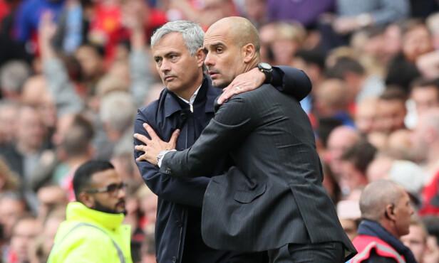 TAKK FOR KAMPEN: Jose Mourinho, og Pep Guardiola. Foto: Martin Rickett/PA via AP