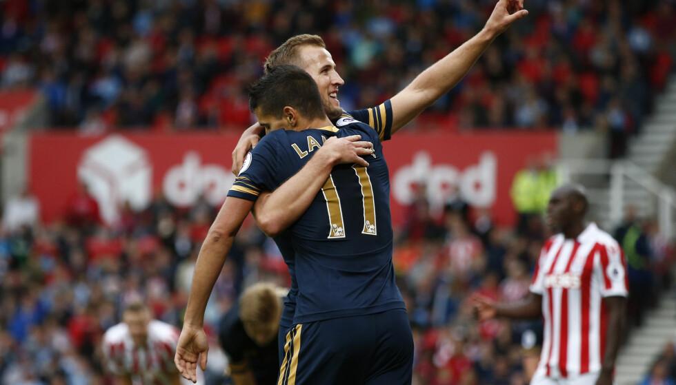 KANE I 50: Harry Kane scoret sitt 50. Premier League-mål da Tottenham knuste Stoke hele 4-0 på bortebane. Foto: Reuters / Peter Nicholls / NTB Scanpix