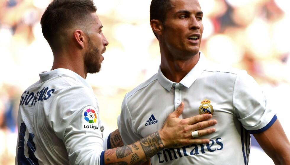 TILBAKE: Cristiano Ronaldo trengte bare seks minutter på å finne nettmaskene da han lørdag var tilbake fra skade. Real Madrid knuste Osasuna 5-2. Foto: AFP PHOTO / GERARD JULIEN / NTB Scanpix