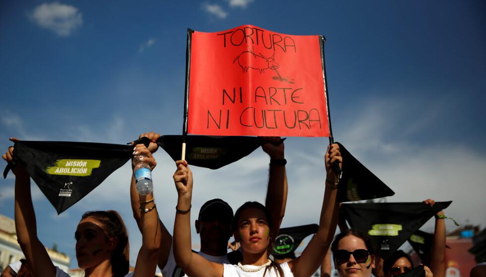 «IKKE KUNST, IKKE KULTUR»: Det lyder plakaten denne protestanten holder opp under markeringen mot tyrefekting i Spania. Foto: REUTERS/Susana Vera