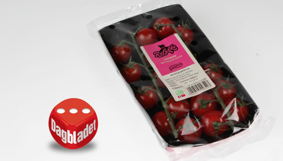 FIN GLANS: Men smaken er ikke som den skal på Gartner-tomatene fra Ryfylke, kjøpt på Kiwi.