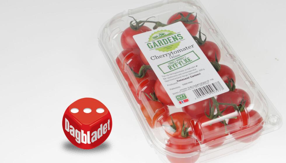 SMAKER IKKE TOMAT: De norske cherrytomatene fra Rema 1000 har sødme, men smaker ikke tomat.