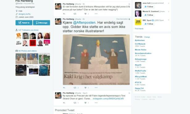 TWITTER-PROTEST: En skjermdump av Flu Hartbergs Twitter-melding mandag.