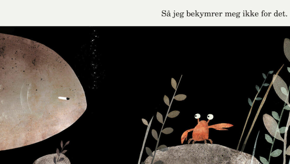 MØRK KOMEDIE: Scene fra havbunnen, der et kriminalmysterium er under opprulling. Hvem har stjålet hatten?