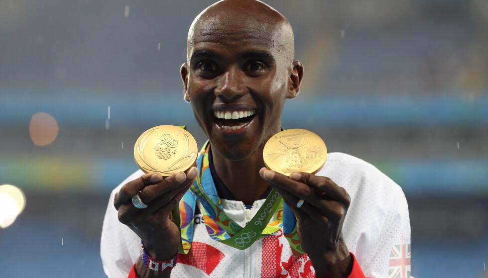 IKKE TIL Å TRO? Mo Farah har vunnet alt for Storbritania på langdistansene i flere OL, men i hjemlandet er skepsisen stor. Etter en karriere med for mange hjelpere fra gråsonen, er løperstjernen i ferd med å ødelegge sitt eget rykte. Nå dropper han friidretts-VM, og velger i stedet maraton i Chicago. FOTO: Scanpix.