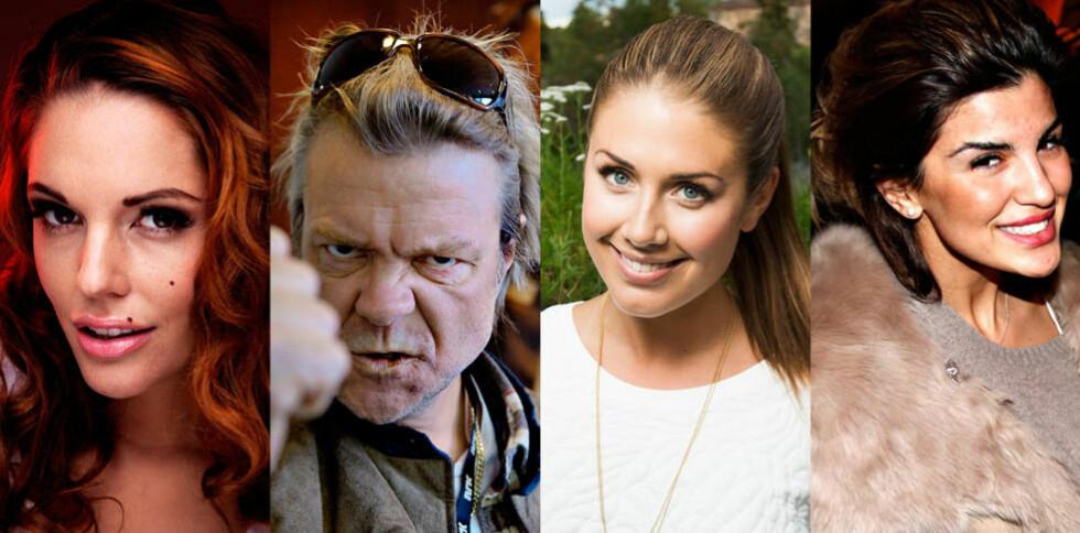 FØRT OPP: Triana Iglesias, Alex Rosén, Tone D. Aaberge og Aylar er blant kjendisene som er ført opp på Samfunnspartiets liste. Alle foto: Dagbladet
