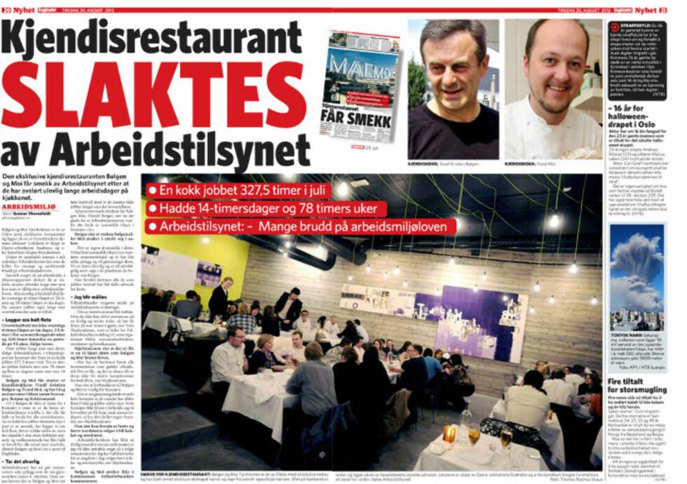 SLAKTES: Den eksklusive kjendisrestauranten Bølgen og Moi har tidligere fått smekk av Arbeidstilsynet.