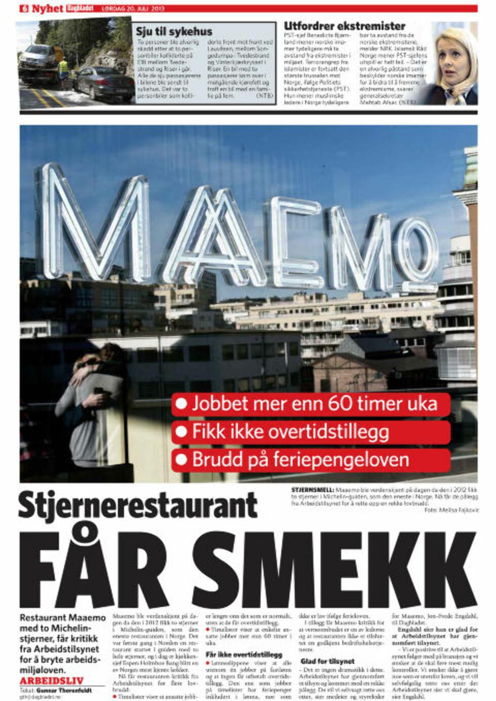 MICHELIN-RESTAURANT: Restaurant Maaemo har også fått kritikk av Arbeidstilsynet.