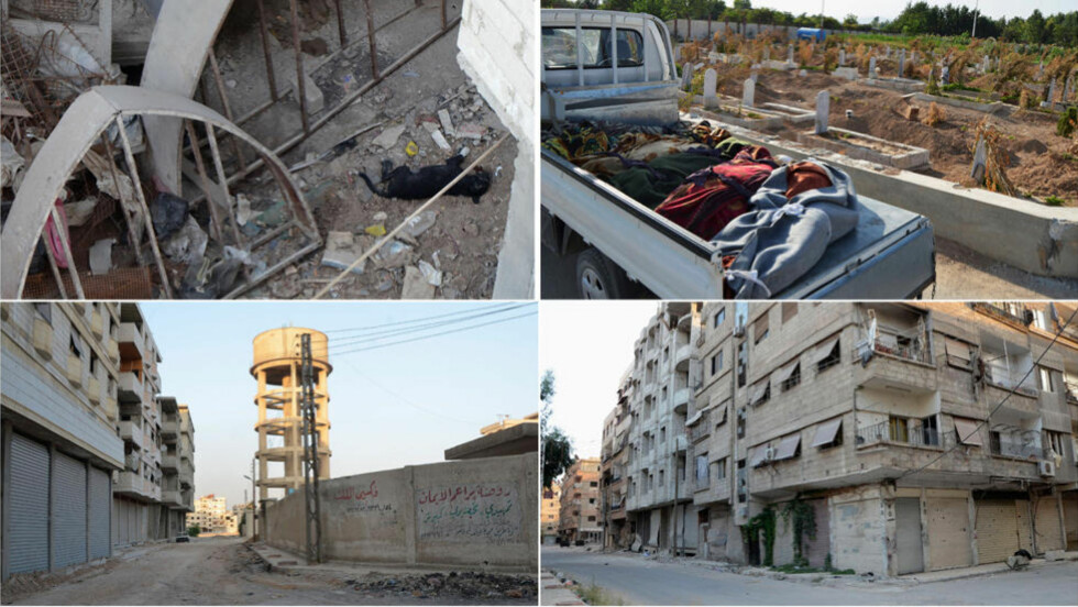 AIN TARMA: Gatene er folketomme og biler kjører likene bort mens en hund ligger livløs i ruinene i bydelen Ain Tarma i Damaskus. Ifølge syriske opprørere ble bydelen utsatt for et gassangrep i går, men dette er umulig å verifisere siden syriske myndigheter ikke slipper til våpeninnspektører. Alle foto: Bassam Khabieh / Reuters / NTB Scanpix