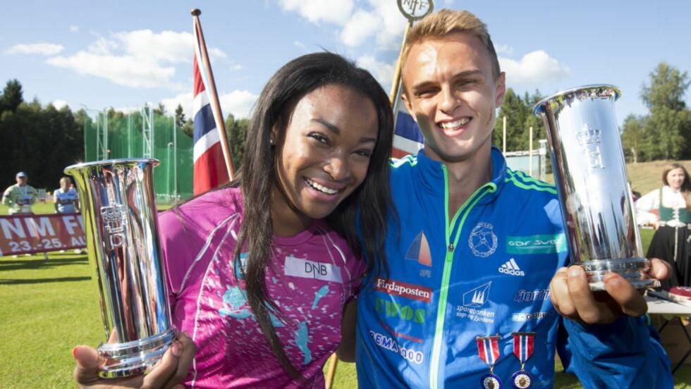 TOK KONGEPOKALENE: Ezinne Okparaebo og Øyvind Strømmen Kjerpeset fikk kongepokalen under NM i Tønsberg. Foto: Terje Bendiksby / NTB scanpix