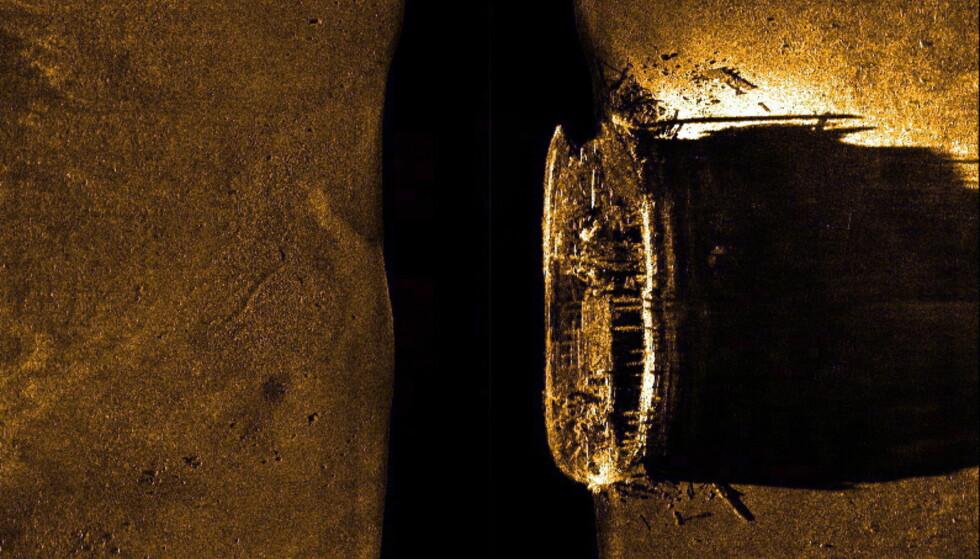 HMS EREBUS: Her er HMS Erebus avbildet ved hjelp av en sonar etter funnet i 2014. Foto: Parks Canada / The Canadian Press via AP / NTB scanpix