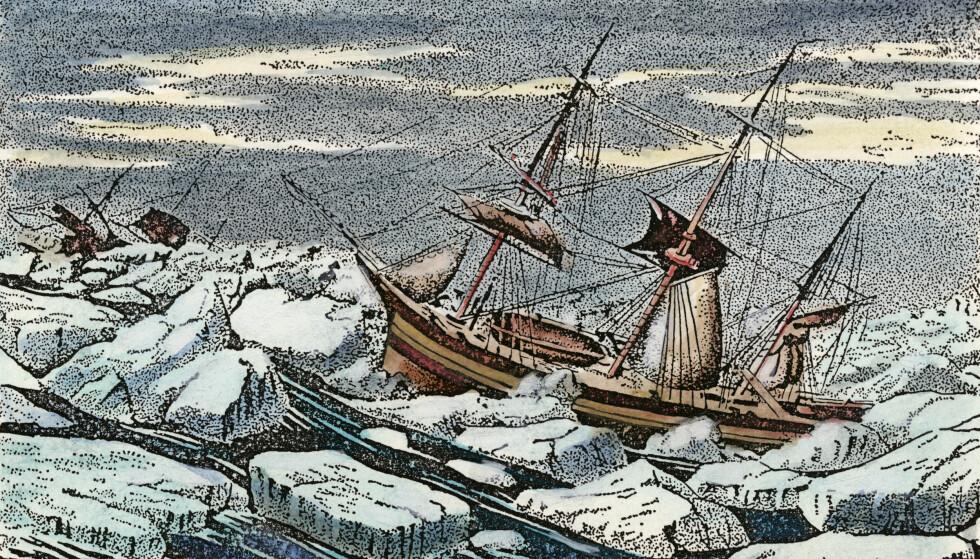 SKIPBRUDNE: En kunstnerisk framstilling av de to båtenes endelikt. Foto: The Granger Collection / NTB scanpix