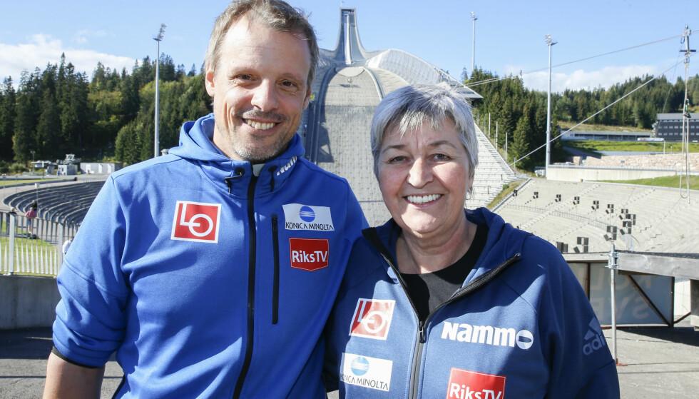 LEDIG: Selv etter at LO og LO-leder Gerd Kristiansen er med som hovedsponsor for hopplandslaget, er det fortsatt ledig sponsor-plass på klærne til landslagssjef Alexander Stöckl. Foto: Terje Pedersen / NTB scanpix