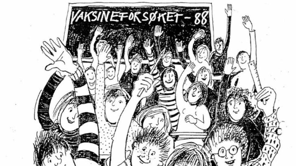 FORSØKSKANINER: 180 000 ungdomsskoleelever prøvede ut en vaksine mot hjernehinnebetennelse mellom 1988 og 1991 i regi av Statens institutt for folkehelse, nå Folkehelseinstituttet. Faksimile: Brosjyren «Vaksineforsøket-88», Statens institutt for folkehelse