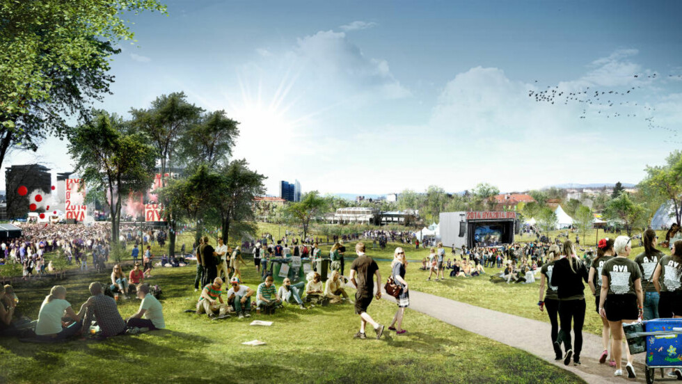 PÅ FLYTTEFOT: Slik ser Øyafestivalen for seg at det kan bli i Tøyenparken i 2014. Årets festival blir den siste på et par år som avholdes i middelalderparken. Illustrasjon: Superunion