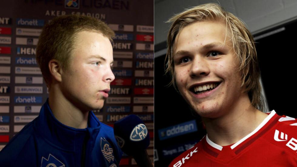 STOR FREMTID: Sander Svendsen (15) og Håkon Lorentzen (15) debuterte begge i Tippeligaen i kveld.  Foto: Svein Ove Ekornesvåg / NTB scanpix og  Astrid M. Nordhaug / Digitalsport