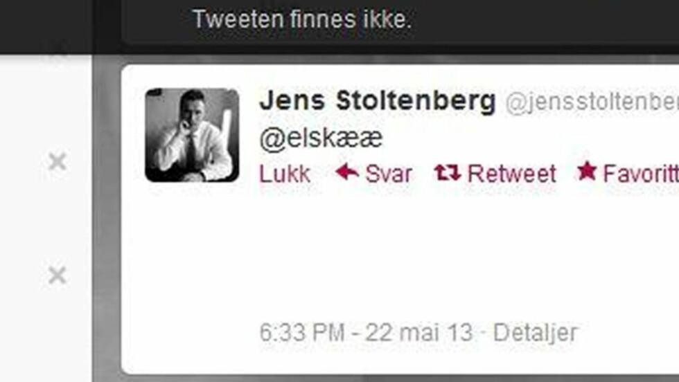@ELSKÆÆ: Statsminister Jens Stoltenberg har lommetwitret litt fra festspillene i Bergen.