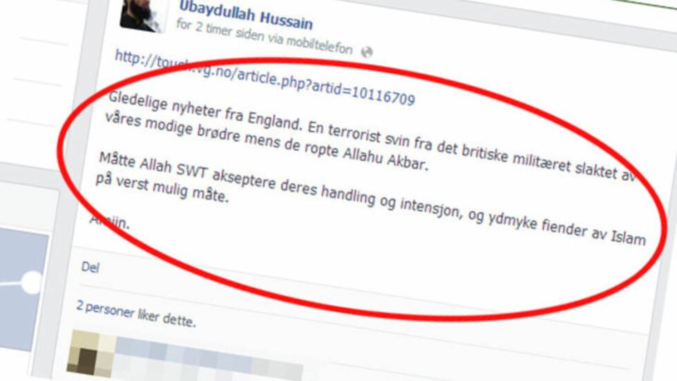 «GLEDELIGE NYHETER»: Slik omtalter Hussain det brutale drapet i London. Faksimile