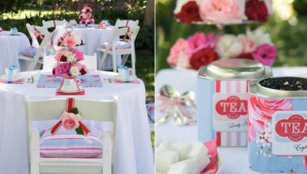 HAGEFEST: Bryllupsfesten kan bli akkurat like flott som te-selskap i hagen som den ville blitt på byens dyreste hotell. FOTO: Notonthehighstreet.com