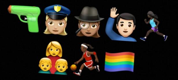 NOEN NYHETER: Dette er noen av de nye emojiene som er å finne i iOS 10. Pistolen er byttet ut med en vannpistol, kvinner har fått flere yrker og regnbueflagget er på plass. I tillegg har de laget emojier av aleneforeldre. Foto: Skjermdump fra Snapchat