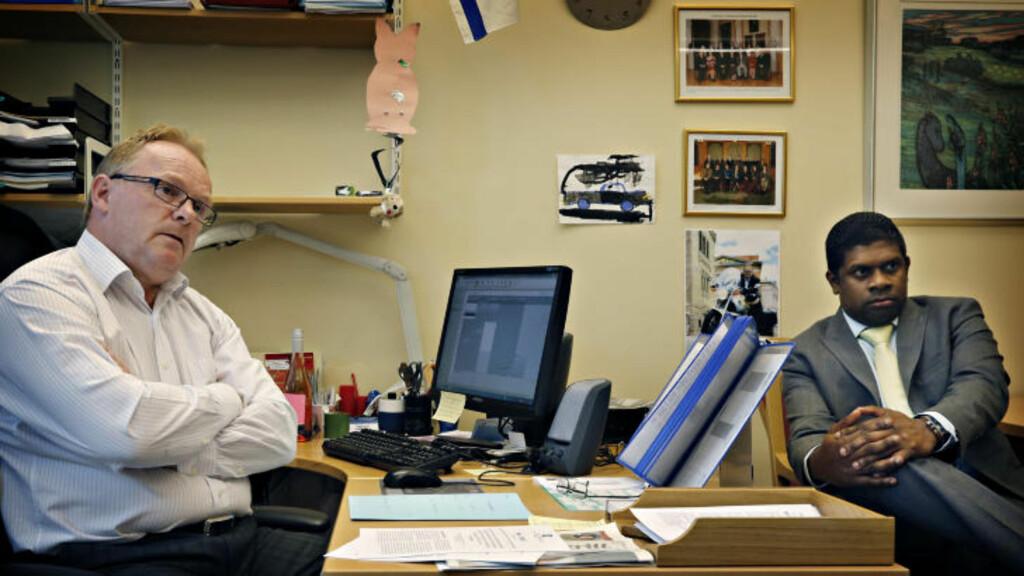 -RASISME OG SEXISME: Per Sandberg og Frp's kommunikasjonsrådgiver André R. Kolve er forbannet og mener de blir hetset, og at gratisavisa NATT&DAG mer enn antyder gutte-sex-rykter. Foto: Jacques Hvistendahl / Dagbladet
