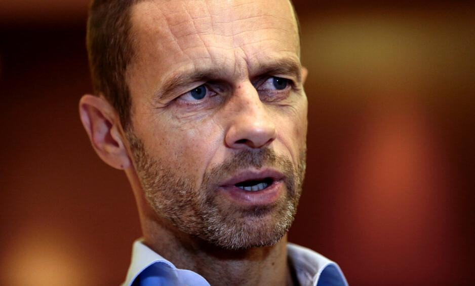 FÅR NORSK STØTTE: Aleksander Ceferin får støtte av Norges Fotballforbund. Foto: Alkis Konstantinidis / Reuters / NTB Scanpix