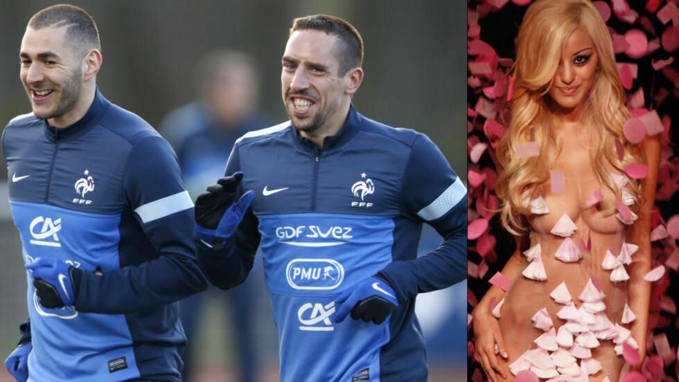 TILTALT:  I dag starter rettssaken mot Karim Benzema (t.v) og Franck Ribery, hvor de står tiltalt for å ha kjøpt sex av en prostituert under 18 år. Zahia Dehar (t.h.) har etter avsløringene begynt som modell og undertøysdesigner for Karl Lagerfeld. Foto: Charles Platiau, Reuters / NTB Scanpix og Thibault Camus, AP / NTB Scanpix