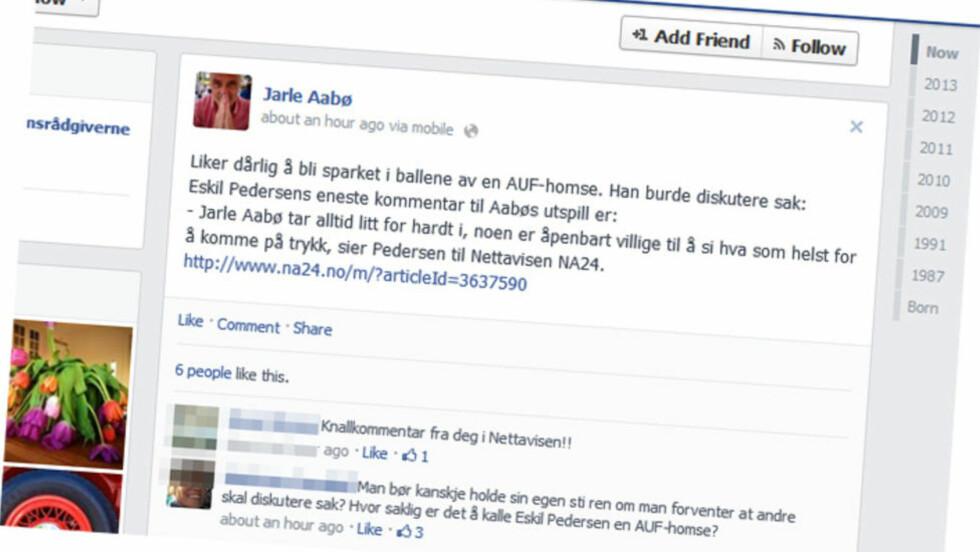 FIKK REAKSJONER: Mens mange av Jarle Aabøs Facebook-venner syntes kommentarene hans var treffende, reagerte også flere på ordbruken.