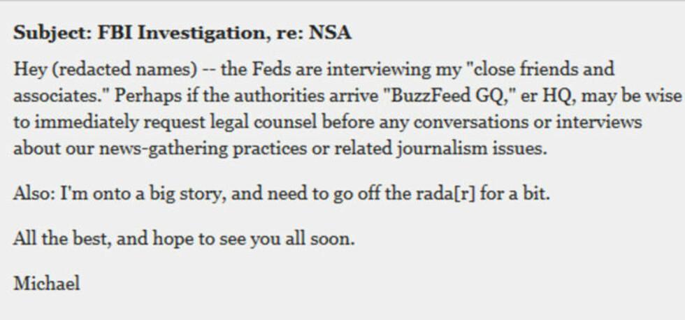 E-POSTEN: Hastings skriver i e-posten, som ble sendt til kolleger og én venn, at han jobber med en stor sak, og at mener det er lurt å anskaffe juridisk hjelp før kollegene eventuelt snakker med FBI. Skjermdump: Huffington Post