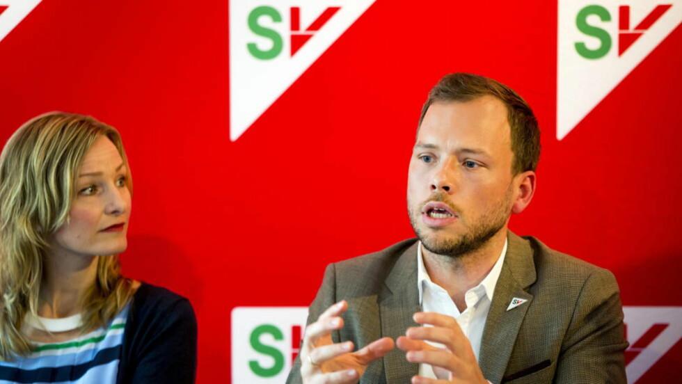 FREMTIDEN ER IKKE I OLJEN: SV-leder Audun Lysbakken mener ny rapport viser at Nord-Norges fremtid ikke er i oljen. Bildet tatt på SV sin pressekonferanse mandag Foto: Erlend Aas / NTB scanpix